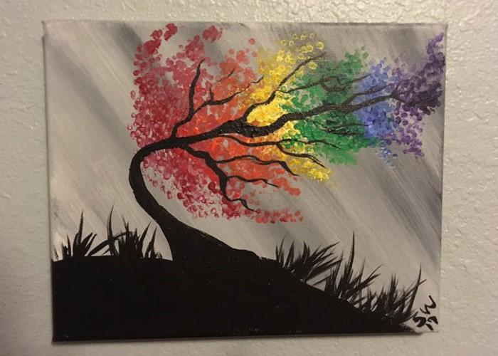 pintura de árbol de arcoíris
