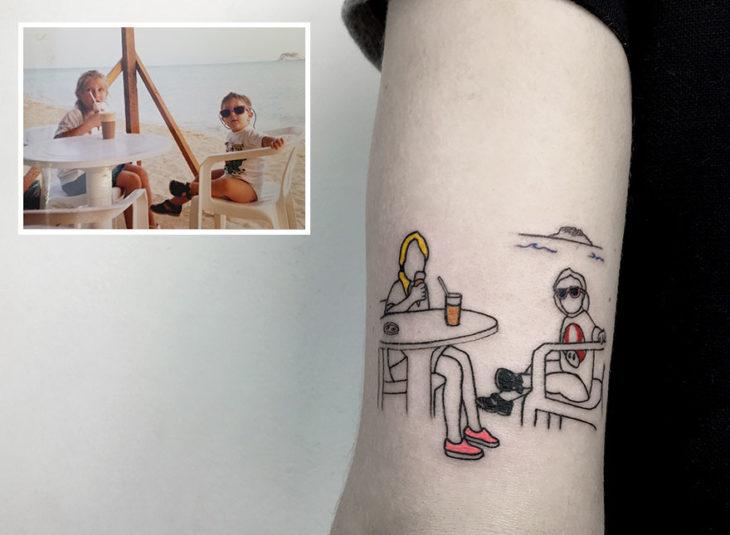 foto en la playa tattoo
