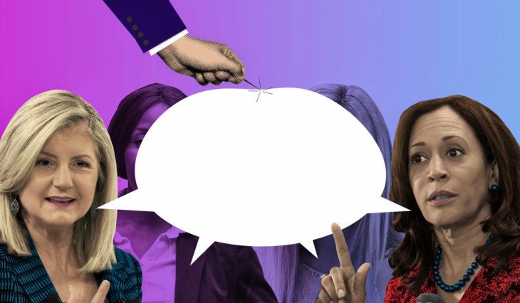 mujeres hablando y mano de hombre