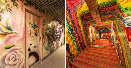 Artistas transforman una escuela en una verdadera obra de arte