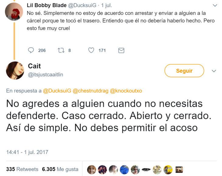 Respuesta en twitter a comentarios de Chico arrestado por acosar a una chica