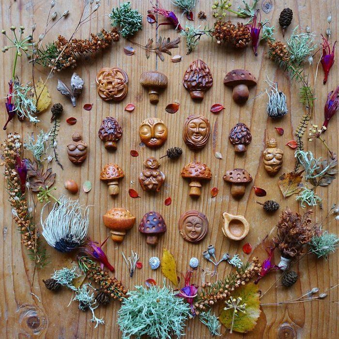 Esculturas con semillas de aguacate