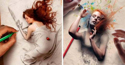 Artista brasileño crea pinturas digitales que parecen salir de la página