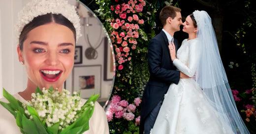 Miranda Kerr usó un vestido de novia que personifica el glamour de Hollywood