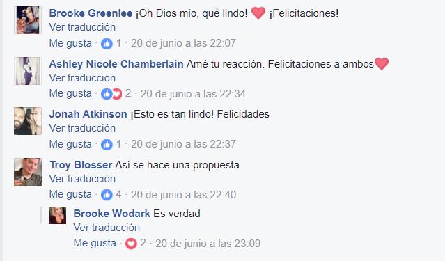 Comentarios en facebook propuesta de matrimonio