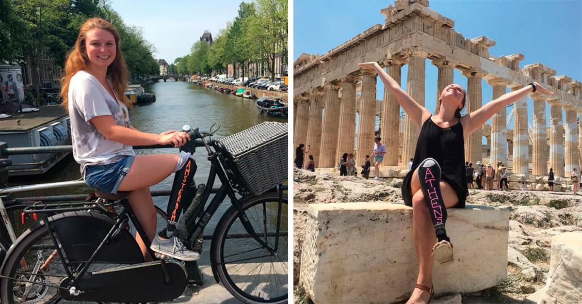 Recorre Europa con una protesis con pintura de pizarra
