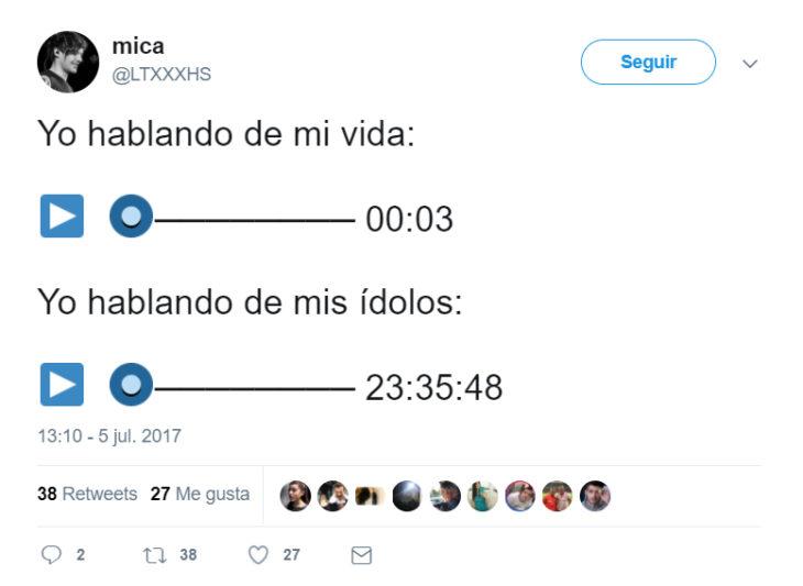 Tweets que relatan lo que es enviar notas de audio
