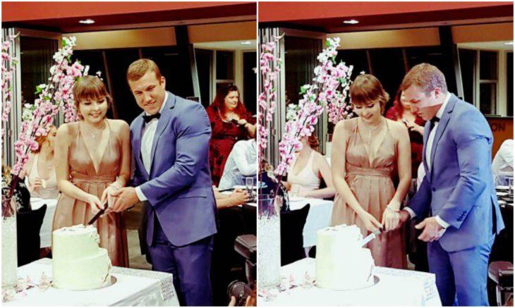 Chica y chico partiendo pastel