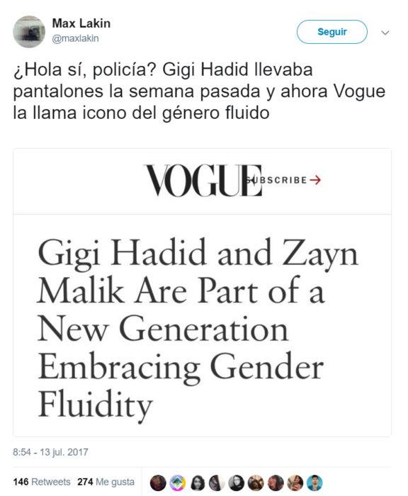 Comentarios en Twitter sobre Gigi Hadid y Zaynk nueva portada vogue