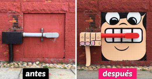 Un genio del arte sorprende a las personas con su divertida forma de hacer mejor su ciudad