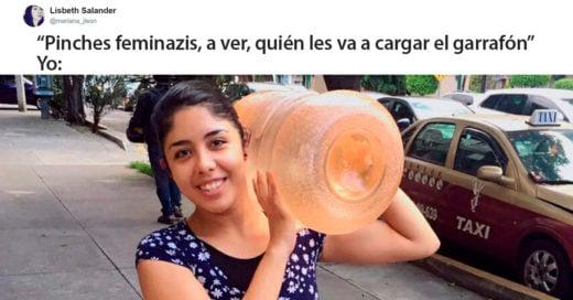 Esta chica cargó su propio garrafón de agua y le puso fin a los chistes feministas