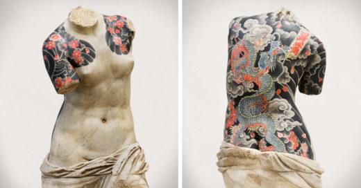 Esculturas clásicas con tatuajes de la mafia; lucen verdaderamente criminales