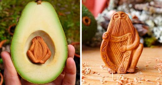 Mientras que las personas tiran las semillas de los aguacates, este irlandés las convierte en obras de arte.