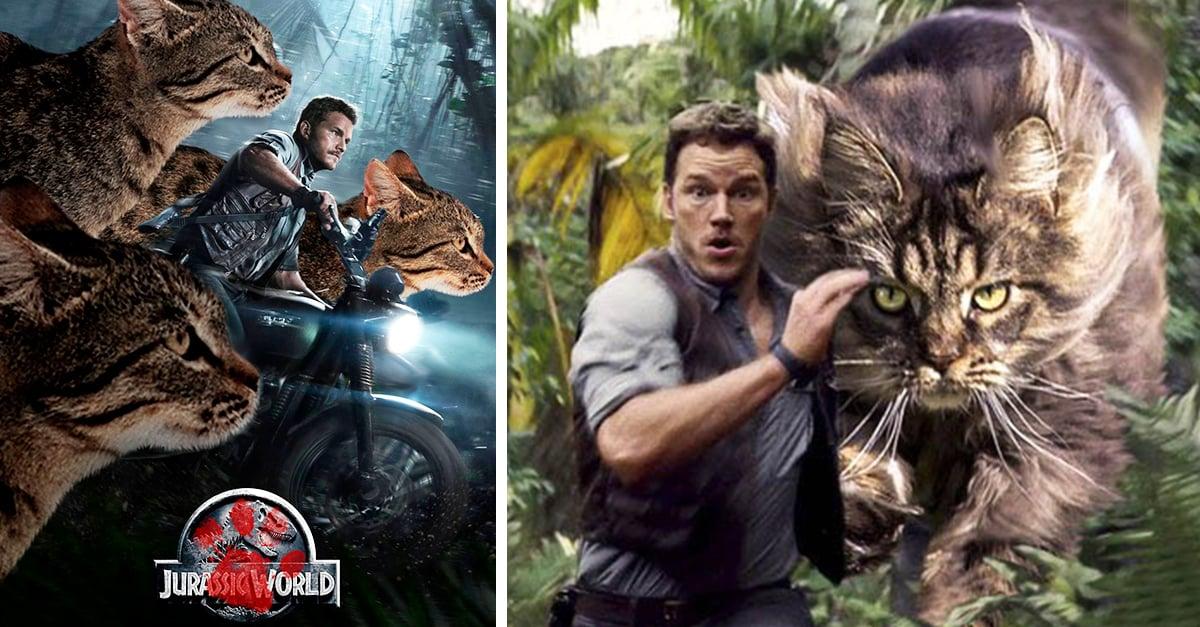 Alguien remplazó los dinosaurios de Jurassic Park con gatos, es divertidisimo