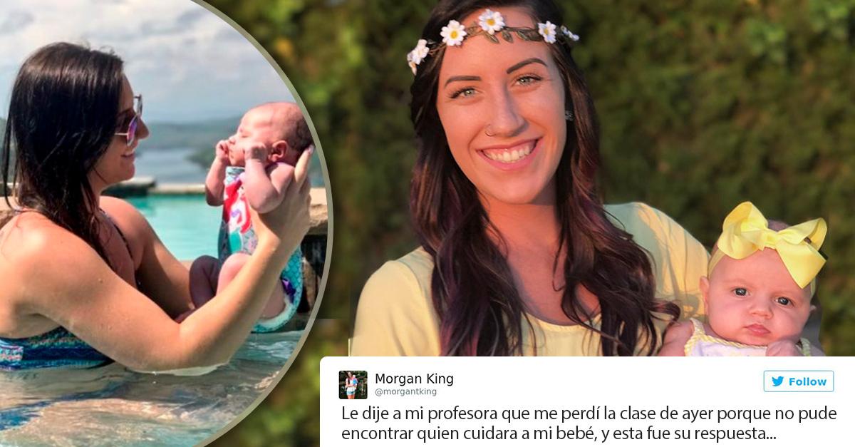 Mamá soltera comparte la respuesta de su profesora tras no asistir a clases; Internet muere de amor