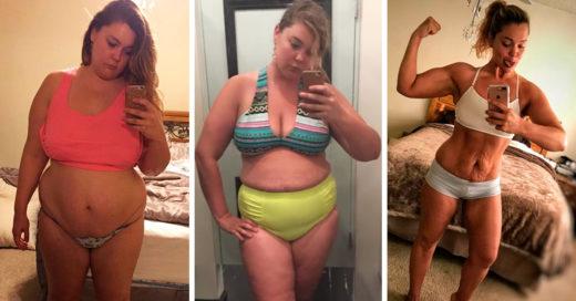 Mamá obesa toma selfies cada día por un año para ayudarse a perder 57 kilos después del suicidio de su marido