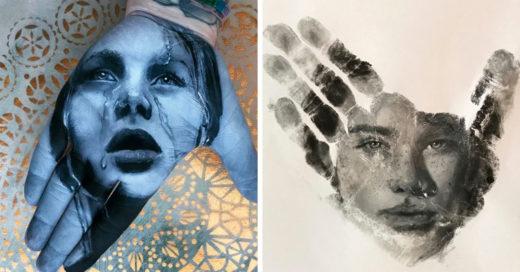 La técnica de este artista es increíble, imprime su obra con las palmas