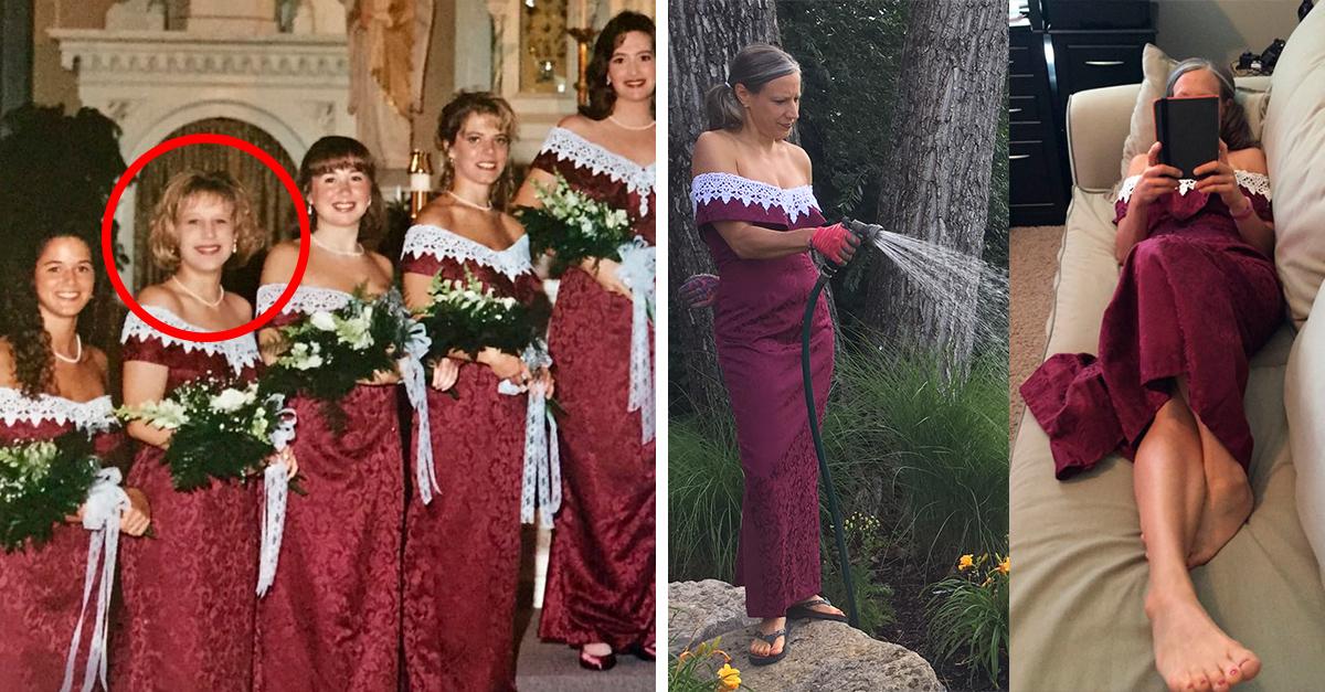 Realizó un Photoshoot increíble para mostrarle a su amiga cómo usa el vestido de dama de honor que llevó en su boda en 1995