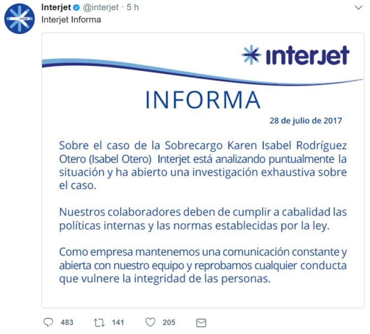 CAPTURA DE PANTALLA COMUNICADO INTERJET