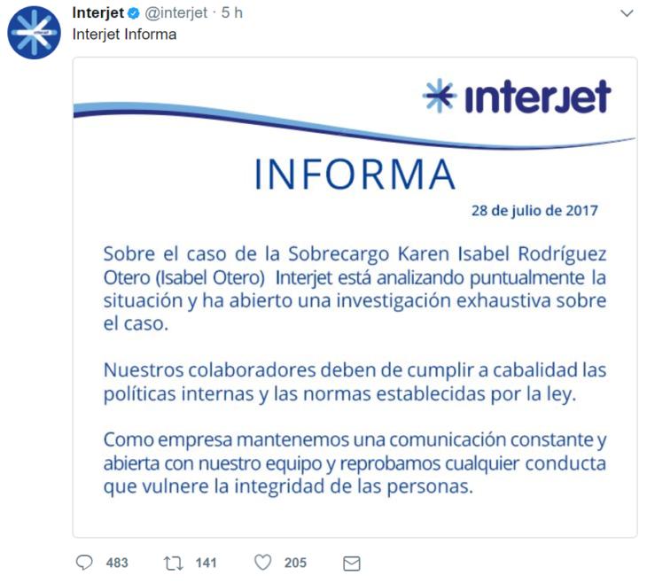 CAPTURA DE PANTALLA COMUNICADO INTERJET