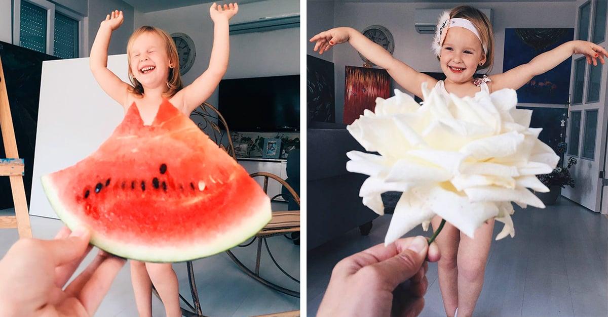 Mamá viste a su hija con comida y flores, el resultado es adorable