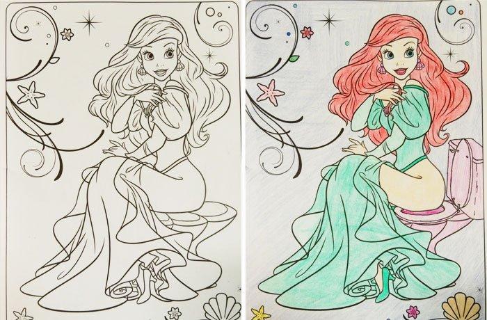Dibujos coloreados por adultos ariel en el trono