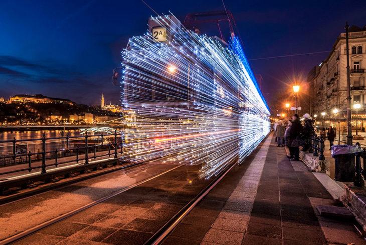 larga exposición tren trayectoria