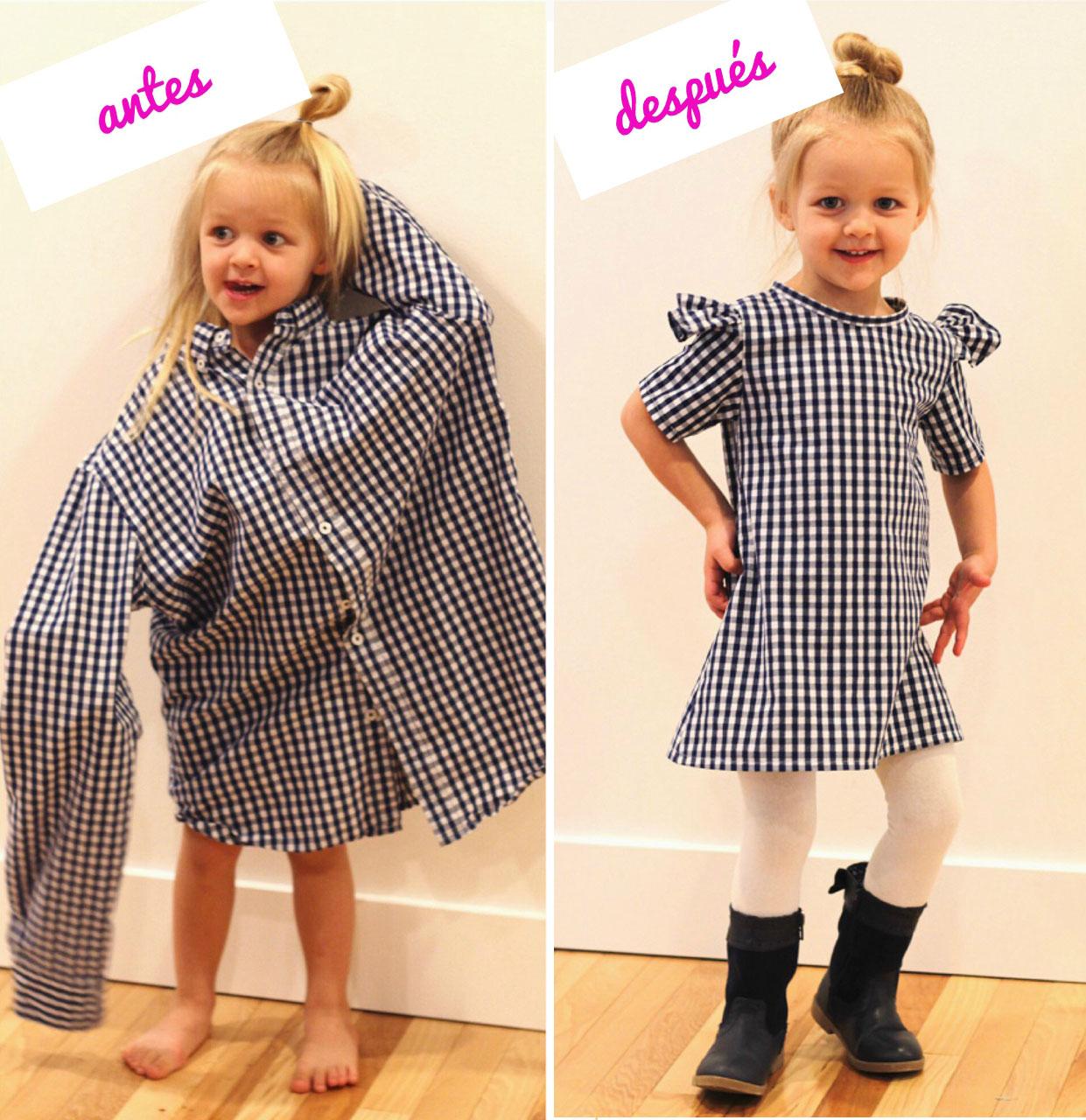 Детское платье из мужской рубашки 21