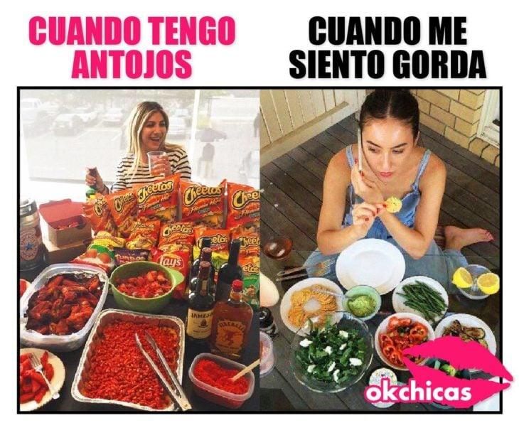 Meme chica antojos cuando te sientes gorda