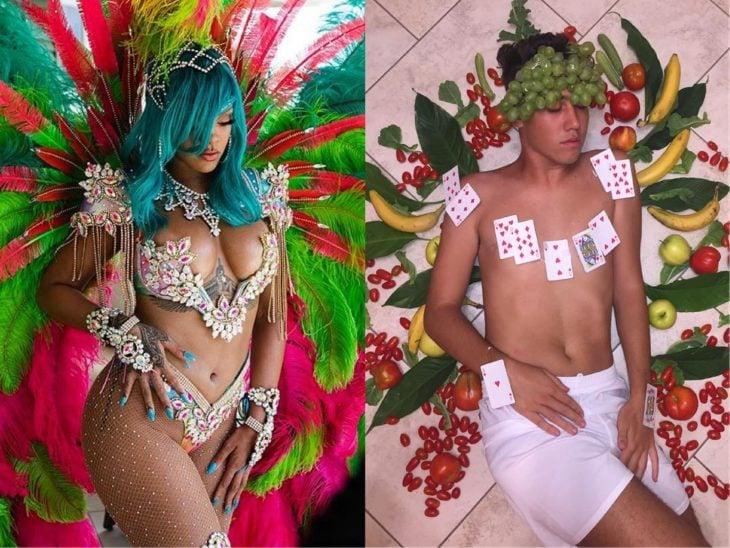 Rihanna parodia con cartas y vegetales