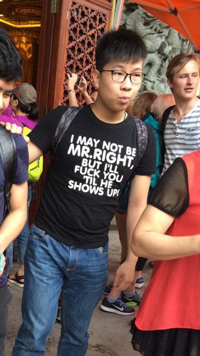 chinos no tienen idea de las frases de sus ropas