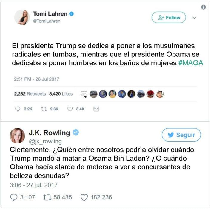 J.K. Rowling tuit respuesta Tomi Lahren