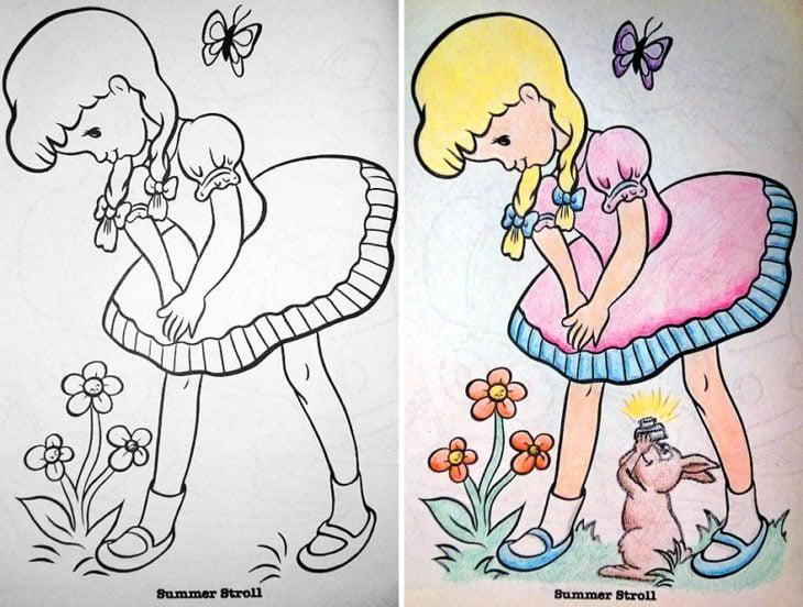 Dibujos coloreados por adultos upskirting