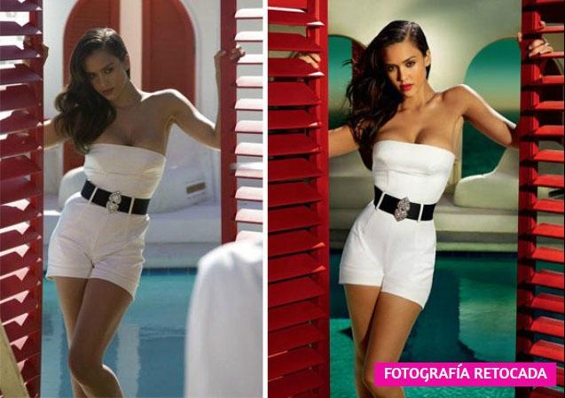 imagen antes y despues de photoshop chica de vestido blanco