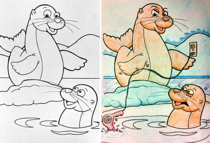 Dibujos coloreados por adultos foca asesina