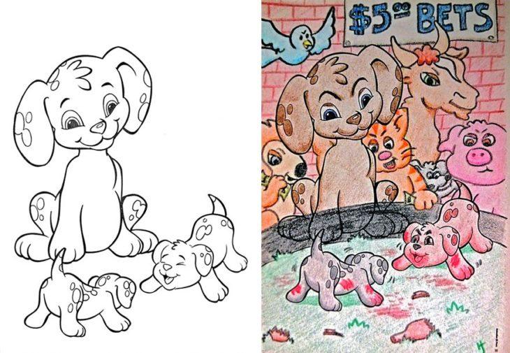 Dibujos coloreados por adultos pelea de cachorritos