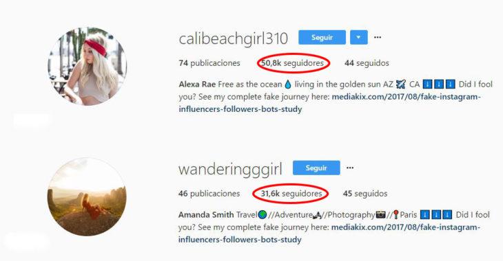 Seguidores falsos de instagram