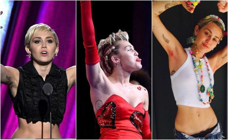 Miley Cyrus axilas peludas