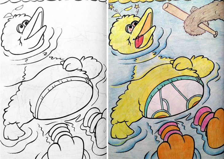 Dibujos coloreados por adultos big bird muerto