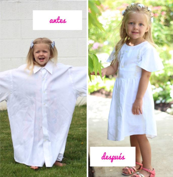 Niña camisa hombre y con vestido blanco