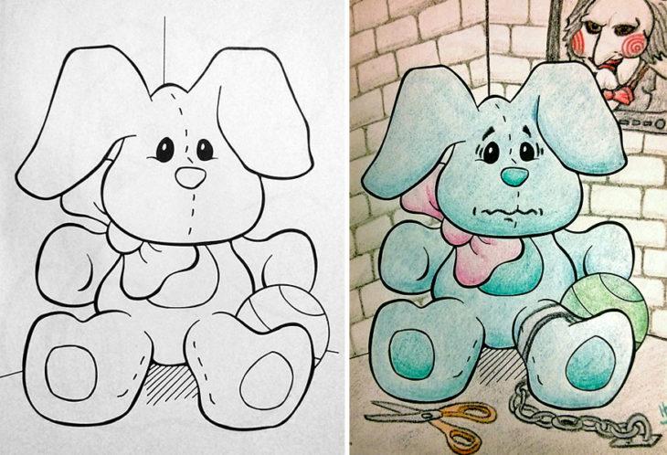 Dibujos coloreados por adultos perrito prisionero