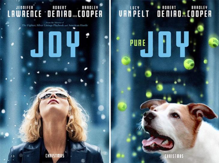 joy póster con perro como protagonista