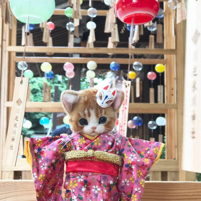 Gata de lana con kimono rosa