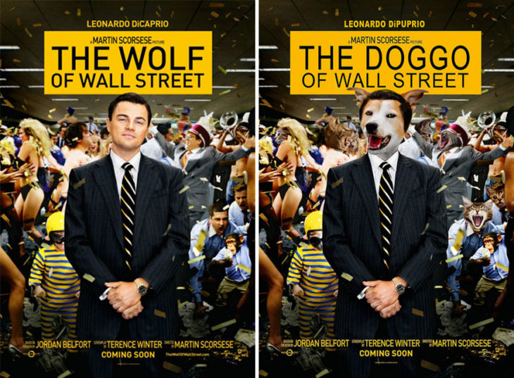 the wolf of wallstreet póster con perro como protagonista