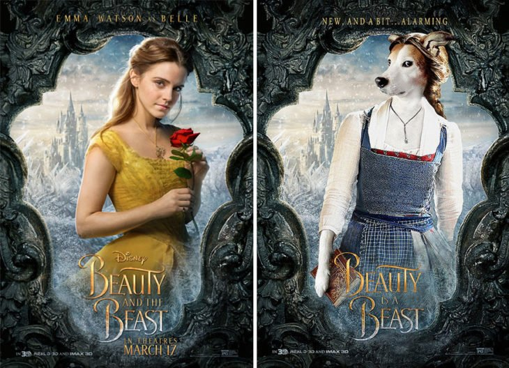 beauty and the beast póster con perro como protagonista