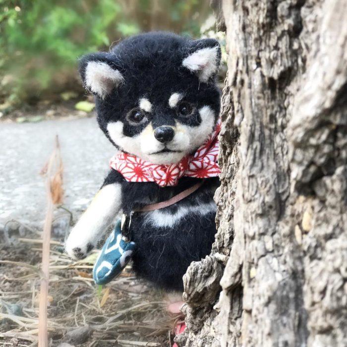Shiba de lana detrás de un árbol