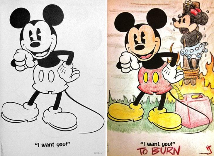 Dibujos coloreados por adultos mickey quemando a minnie