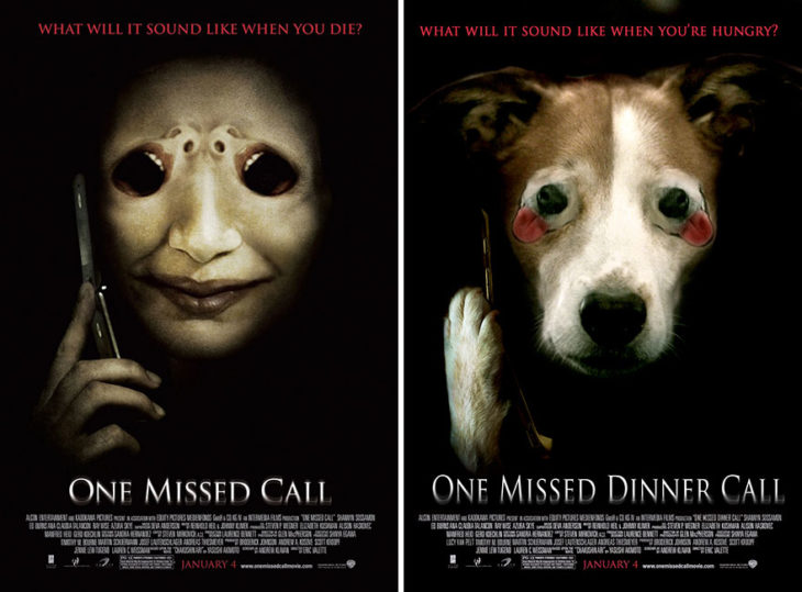 one missed call póster con perro como protagonista