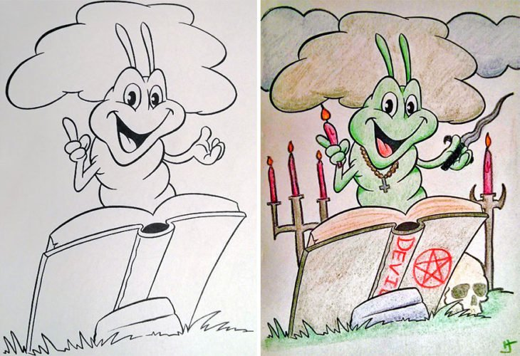 Dibujos coloreados por adultos oruga invocando demonios