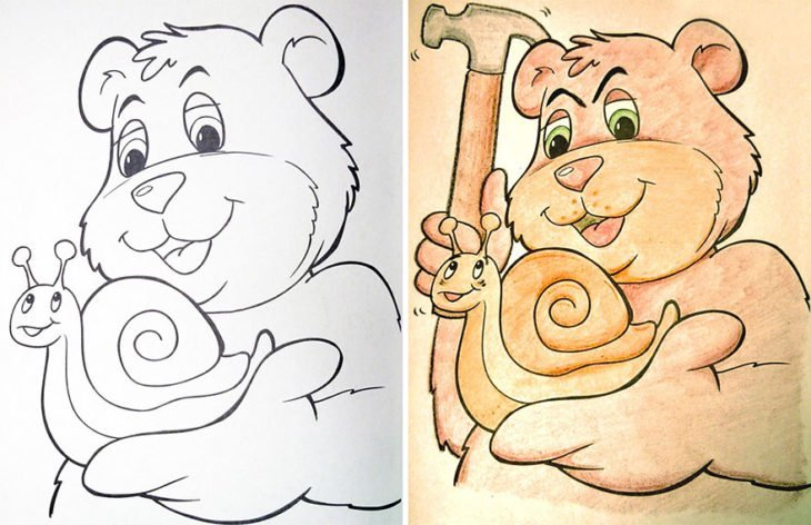 Dibujos coloreados por adultos oso malvado